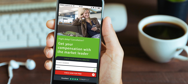 Smartphone with Flightright website