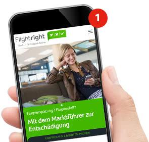Smartphone mit Flightright Homepage