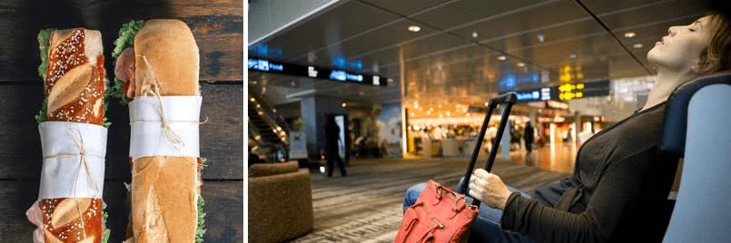 servicio adicional en el aeropuerto debido a perdida del vuelo de conexion. Comida y bebidas