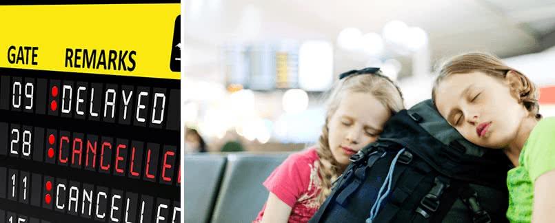 espera en el aeropuerto debido a un vuelo con retraso