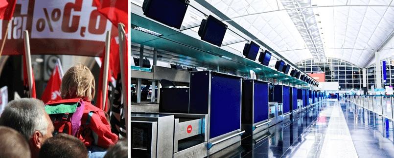 Försenade eller inställda flyg på grund av strejk